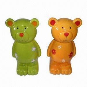 China Bear shape ceramic coin bank, animal ceramic money bank wholesale