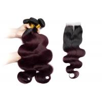 "China 1B / 99J Color Body Wave Hair Bundles Real Human Hair 3 Bundles With 4""X4"" Lace Closure wholesale"