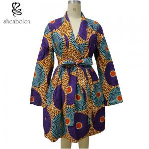 China Long Sleeve Midi African Print Dresses Mix Color Ankara Fabric Spring Autumn wholesale