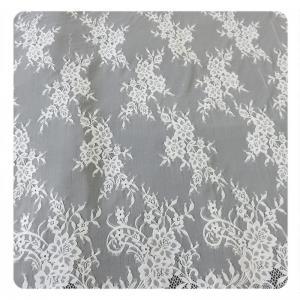 China Beautiful white Nylon Eyelash Elastic Lace Trim / Decorative Lace Trim wholesale
