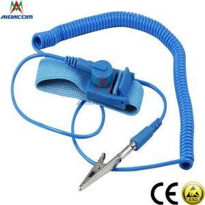 China RoHS EPA Copper Button Blue 3.6m Cord ESD Wrist Strap wholesale