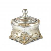 Quality Square Anniversaries Resin Trinket Box Antique Silver Embellished With Gold for sale