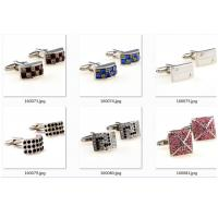 China Tailored Colorful Gold Engraved Cufflinks Round Crystal Engraved Different Logo wholesale