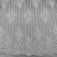 China Floral Corded Embroidered Sequin Lace Fabric For Bridal Gowns Dresses wholesale