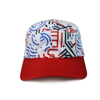 China High Quality 5 Panel Caps sublimation pattern camper cap with polyester with nylon webbing plastic buckle wholesale