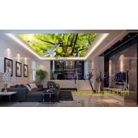 China Household Bamboo Fiber Ceiling Panel Systems White Dove Green Trees Nature Style wholesale