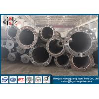 China Steel Flange Connection Type Electrical Power Pole , Galvanized Pole With Anchor Bolt wholesale