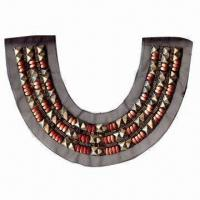 China Fashion Collar, Made of Mesh, Wooden Beads and Plastic Part wholesale