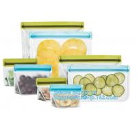 China Food Grade Leakproof Fresh Large Zipper Freezer Stasher Reusable Silicone Food Preservation Storage Bags With bagplastic on sale