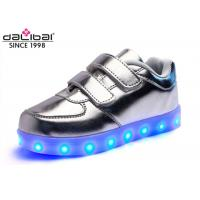 China Magical Strap Silver Childrens LED Shoes Running Luminous Lighting Sneakers wholesale