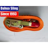 China 5000kg Red Rubber Coating Cargo Ratchet Tie Down Straps with Double J hook wholesale
