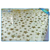 China Diposable Golden Star Printed Non woven Tablecloth Roll / Piece For Christmas Decoration wholesale