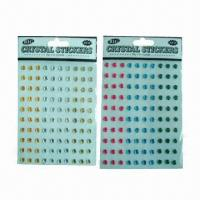 China Acrylic/Crystal Stickers with Fashionable Design, Available in Various Sizes and Designs, Nontoxic wholesale