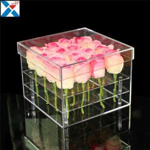China Durable Square Acrylic Flower Box Makeup Organizer Rose Storage Cosmetic Case wholesale