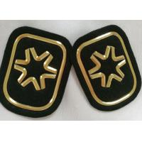 China Black And Gold Embossed 3D Rubber Patches Custom  Badges For Soprtswear wholesale