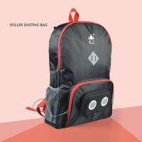 Roller skating Backpack With Built In Speakers Black with red edge LH03