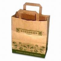 China Paper Gift Bag with Flat Rope Handle, Made of 120gsm Brown Kraft Paper wholesale