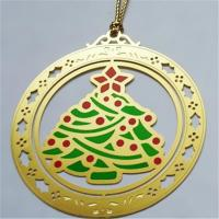 Christmas gift chemically etched bookmarks, X'mas tree photo etched page marker bookmarks,