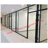 China Full Height Large Fully Enclosed Office CubiclesAluminum Tempered Glass Partition Walls wholesale