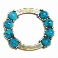 China Metal O-ring, Made of Zinc Alloy, Glued with Turquoise Stones, Lead-free Material wholesale