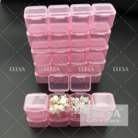 China 28 Grids Pink Diamond Painting Nail Bead Storage Box Containers wholesale