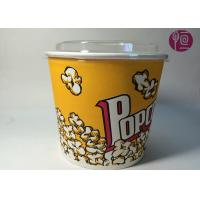 China 85oz Double PE Coated Neutral Design Popcorn Paper Bucket With Plastic Lid wholesale