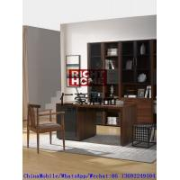 China 2016 New Nordic Design Study room Furniture by Walnut wood Office Desk with Armchair and in Wall Bookcase Cabinet wholesale