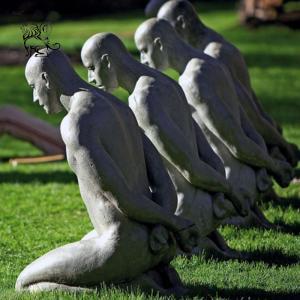 China BLVE Life Size Kneeling Naked Man Bronze Statue Garden Sculpture Modern Art Work Metal Outdoor Decoration wholesale