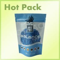China Smart Food Balance Cruch Blue Color Ziplock Stand Up Pouch With Tear Notch wholesale