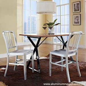 Quality Anodizing Brushed Finish Armless Slat Back Dining Aluminium Emeco Navy Chair Knock Off for sale