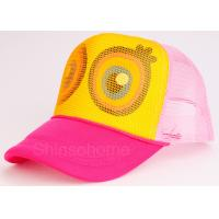 China Cute Mesh Snapback Trucker Hat Colorful Cotton Mesh Adjustable 56 - 60cm wholesale