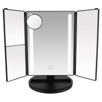 China Touch Screen Tri-fold LED Lighted Makeup Mirror with 1X 2X 3X 10X Magnification wholesale