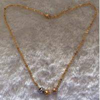 China Golden Stainless Steel Bead Chain Necklace With 3 Pcs Plating Color Balls wholesale