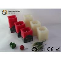 China Square Wax Flameless Led Candles Red / Ivory Color For Holiday wholesale