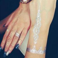 China Non toxic and safe gold silver temporary body art tattoos Easy apply wholesale