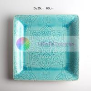 China Crackle Glaze Intaglio Custom Printed Ceramic Plates Embossment Sweet Style on sale