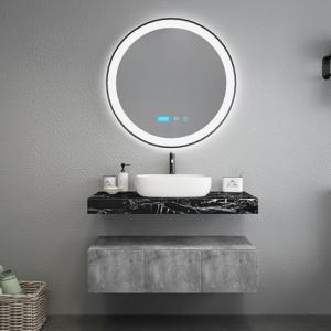 Black Marble Countertops Unique Bathroom Vanities , Touch Mirror Bathroom Sink Vanity Unit
