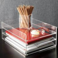Quality Clear desk top Acrylic Storage Boxes , 2 tier acrylic file holder for sale