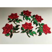 China Flower Embroidered Iron On Appliques , Large Red Rose Floral Patches For Clothes wholesale