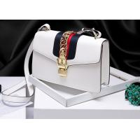 China Leather Single Shoulder Bag With Lock Buckle , Slanting Bow Tie Striped Satin Ribbon Bag wholesale