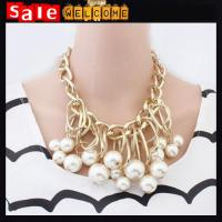 China Statement Necklace Punk Big Metal Chain Braid Twist Chain Bib Chunky Necklace Pearl Chain wholesale