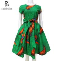 China Multi Color Fashion African Print Dresses Medium Length Short Sleeve Custom Size wholesale