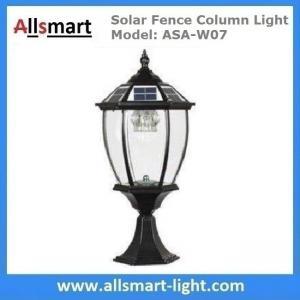 China Aluminum Solar Fence Column Light Exterior Solar Pillar Lamp Vintage Outdoor Post Lights Fence Gate Stone Lantern Black wholesale