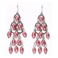Pink Color Latest Fashion Artificial Jewellery Chandelier Costume Pearl Earrings For Ladies