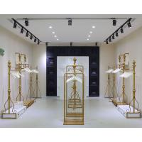 China Women Clothing Store Shelves / Retail Clothing Display Systems Golden Color on sale