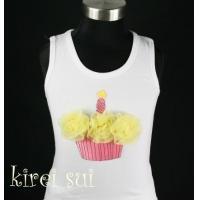 China White Tank Top with Cupcake CA1 wholesale