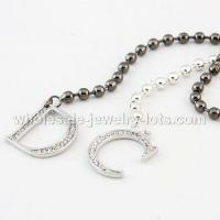 China Black White Bunch Beads CD Long Necklaces For Women wholesale