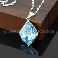 China Copper plate platina nacklace with butterfly and Austria Swarovski crystal pendant on sale