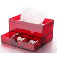 Hot selling acrylic tissue box clear plastic box plastic storage box with dividers BTB-098