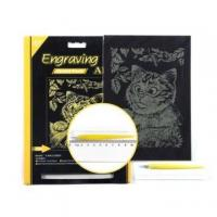 China Engraving Art Kits Kid Engraving Art Scratch Board Gold Foil Drawing Kit on sale